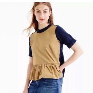 J. Crew Color Blocked Peplum Sweater